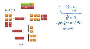 solve 4 - m/2 = 6