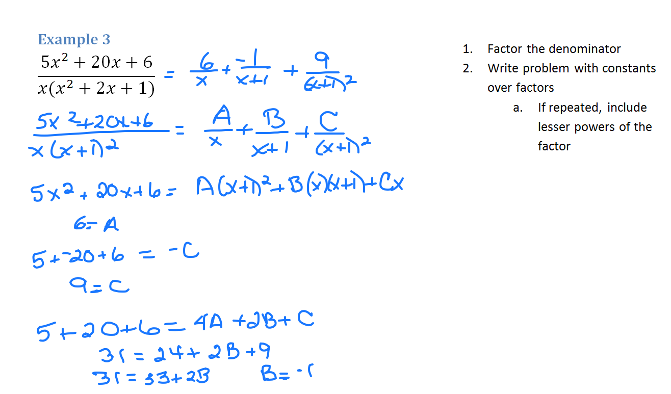partial fraction Integration by partial fractions partial fraction decomposition can help you with differential equations of the following form: in solving this equation, we obtain.