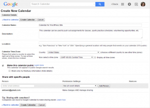 Create New Google Calendar
