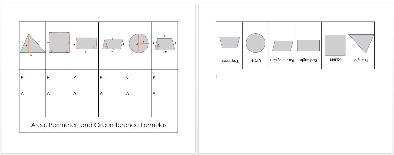 area perimeter formulas foldable screen shot