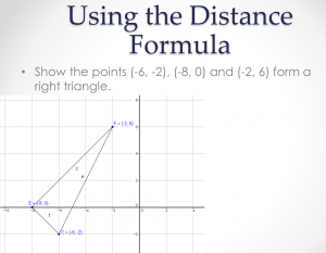 Use distance formula to prove right triangle example