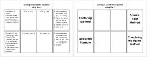 Solving a Quadratic Equation Foldable