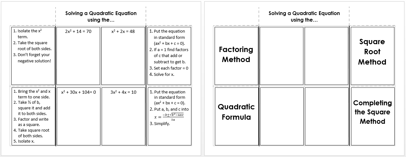 Solving Quadratic Equations – Solving Quadratic Functions Worksheet