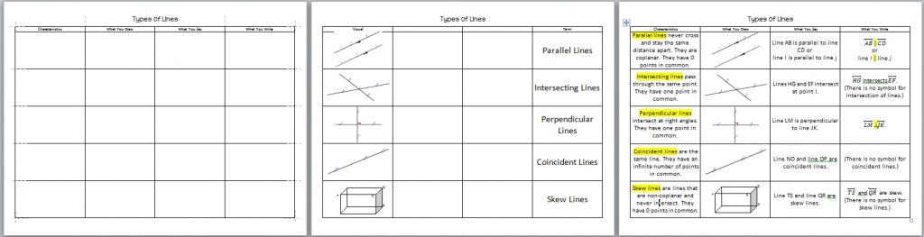 Types of Lines Foldable 3 pages