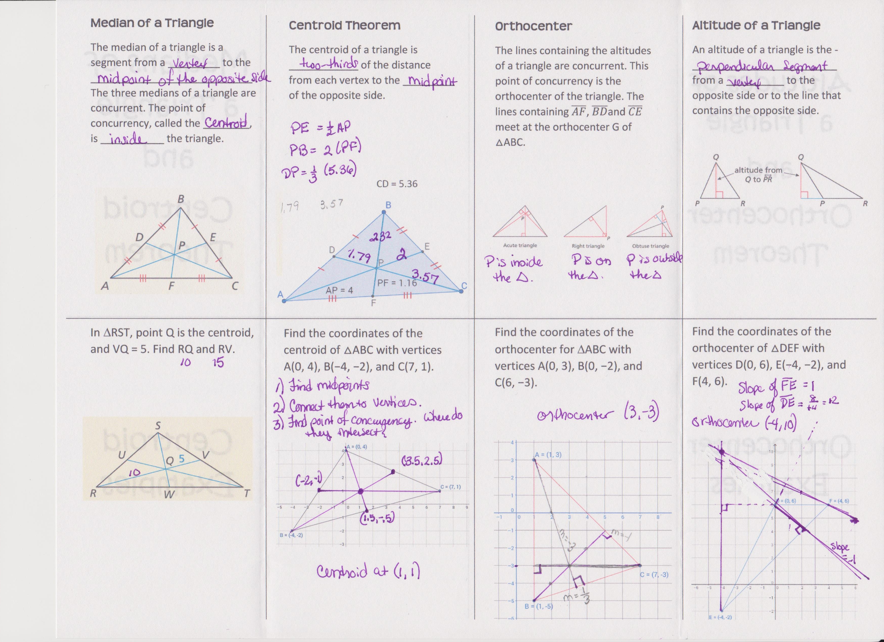 worksheet Medians And Altitudes Of Triangles Worksheet relationships within triangles systry medians and altitudes foldable filled out