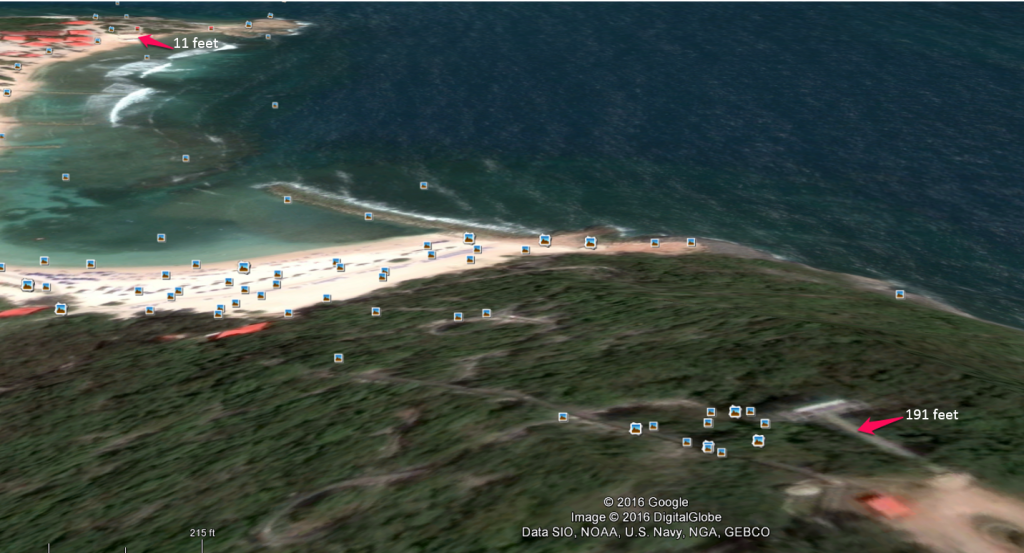 Labadee zip line Google Earth