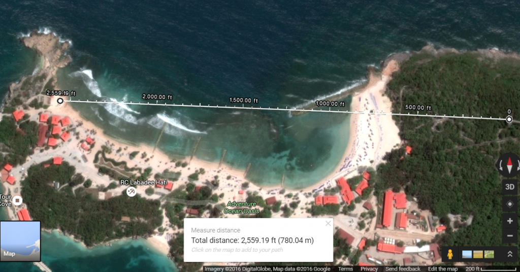 Labadee zip line distance google maps