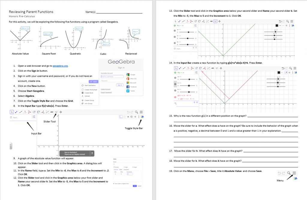 Reviewing Parent Functions Geogebra Activity p 1-2