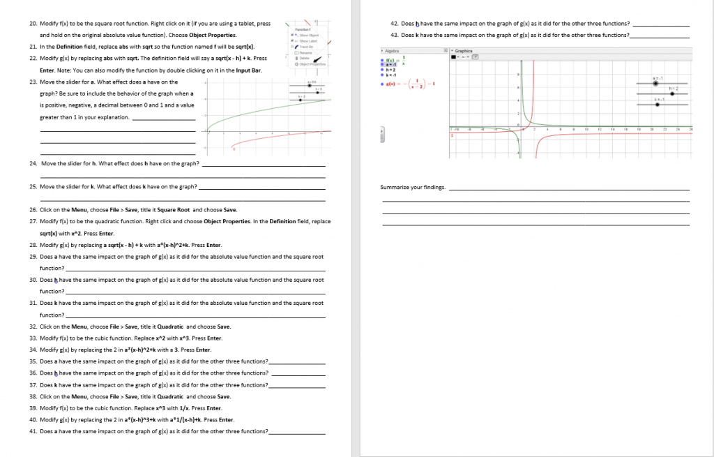 Reviewing Parent Functions Geogebra Activity p 3-4