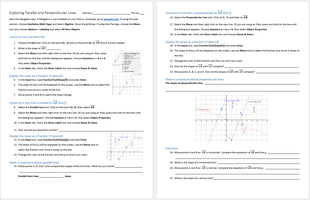 worksheet Slopes Of Parallel And Perpendicular Lines Worksheet parallel and perpendicular lines systry exploring geogebra activity
