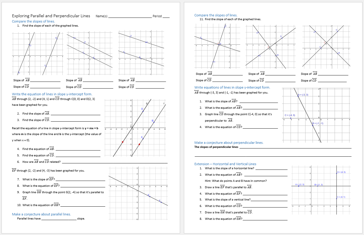 Worksheets Slope Of Parallel And Perpendicular Lines Worksheet worksheet slope of parallel and perpendicular lines systry exploring paper pencil